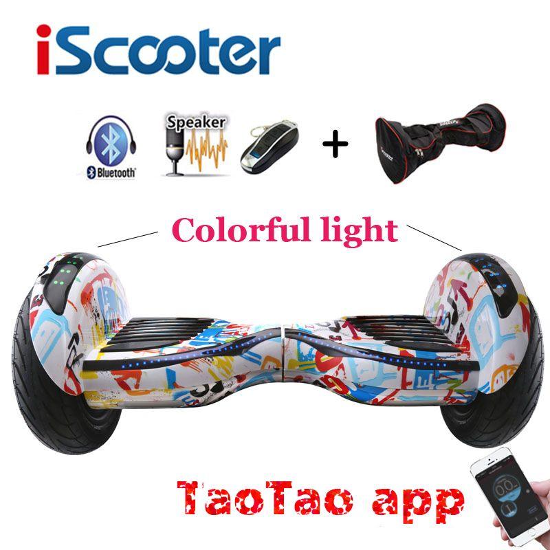 IScooter Neue hoverboard 10 zoll zwei rädern intelligente selbstausgleich roller giroskuter elektrisches skateboard mit Bluetooth lautsprecher