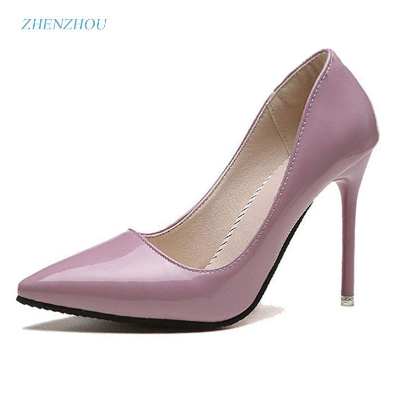 Zhenzhou Livraison gratuite Pompes 2017 printemps et automne nouveau nu couleur pointu femmes de chaussures sont sexy et talons hauts Fine avec