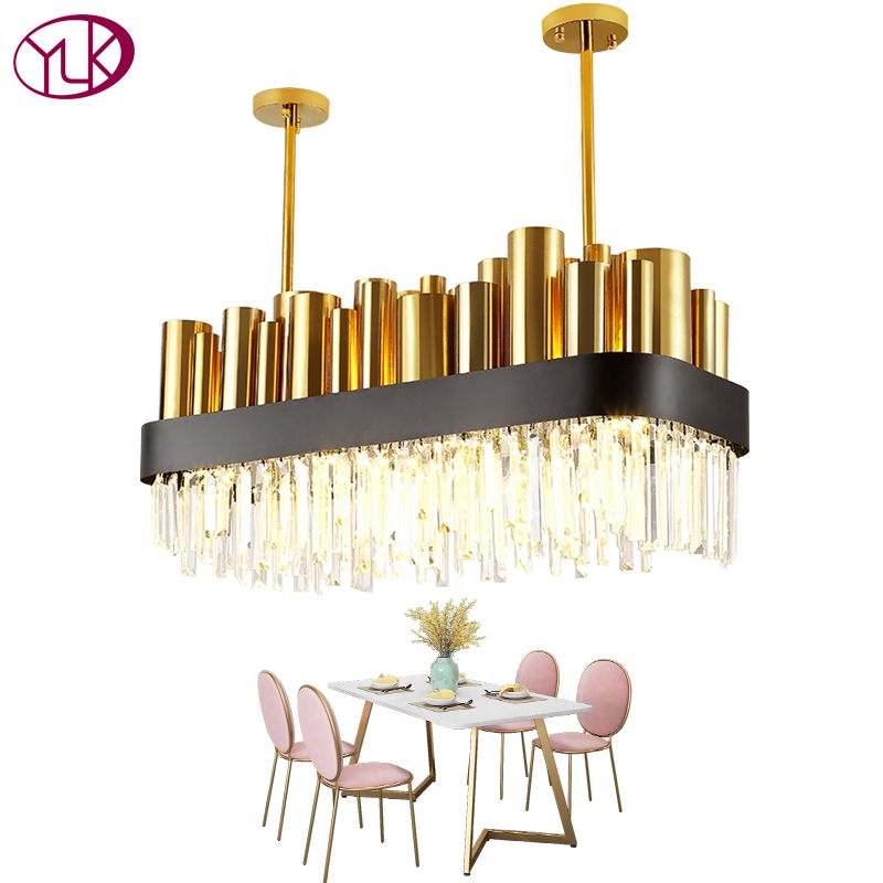 Youlaike Luxury Modern Crystal Chandelier Gold Polished Steel Dining Room Lighting Fixture Rectangle AC110-240V Cristal Lamp