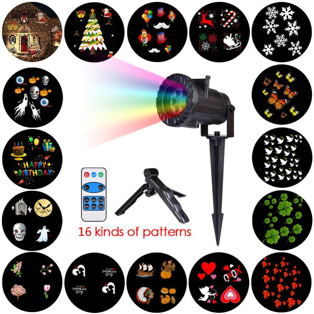 Christmas Lights Waterproof LED Projector 16 Film Cards Laser Fairy Light Projection Family Christmas New Year's Decor For Home