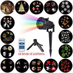 Luzes de natal À Prova D' Água LED Projector 16 Filme Cartões Laser Projeção de Luz de Fadas Família Natal de Ano Novo Decoração Para A Casa