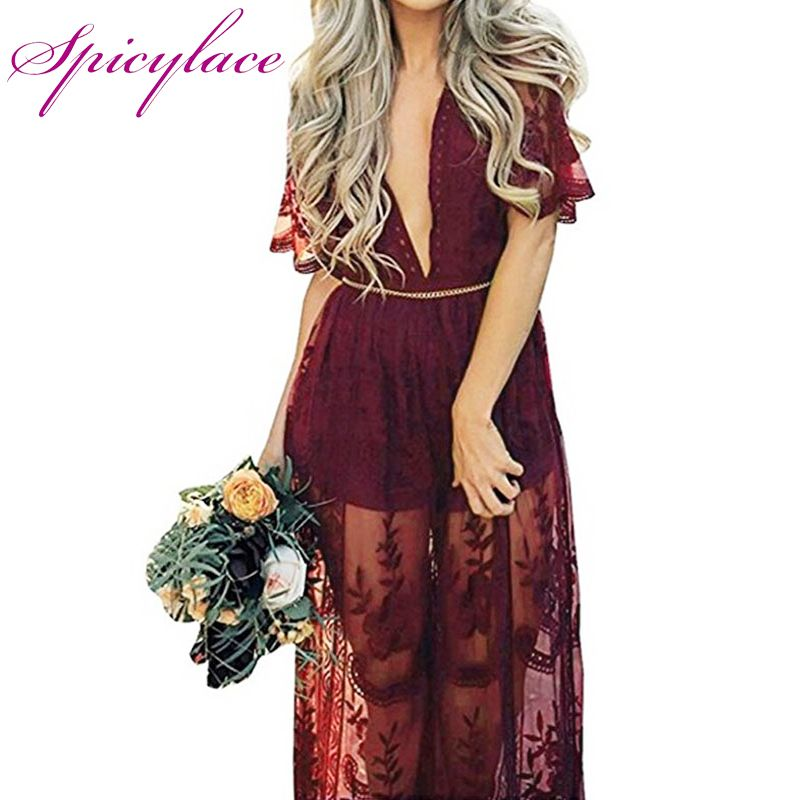 Spicylace Burgundy Lace Dress Women Sexy High Waist Split Party Dress Elegant Hollywood Maxi Long Dress Vestidos SF170816