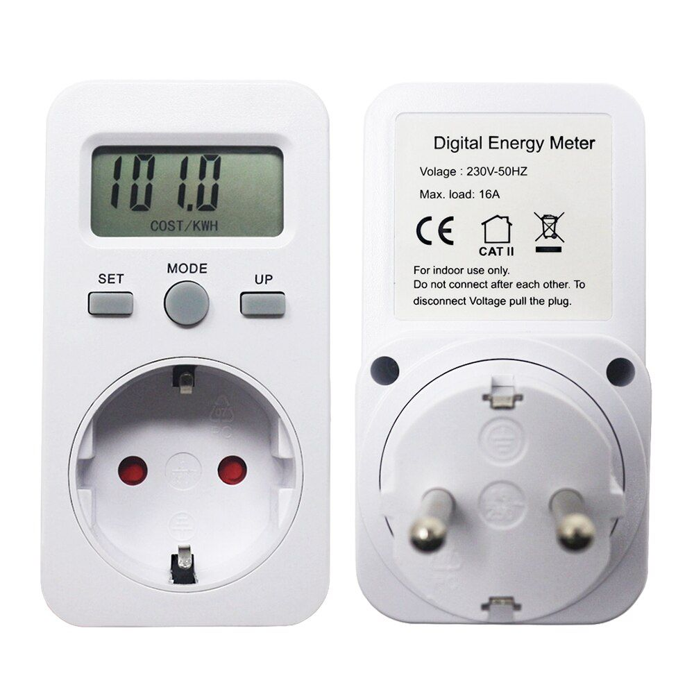 AC 230V 16A 3680W EU Plug Digital Power Monitor Energy Meter Wattmeter LCD Watt Meters Detector W KWH Price COST/KWH Display