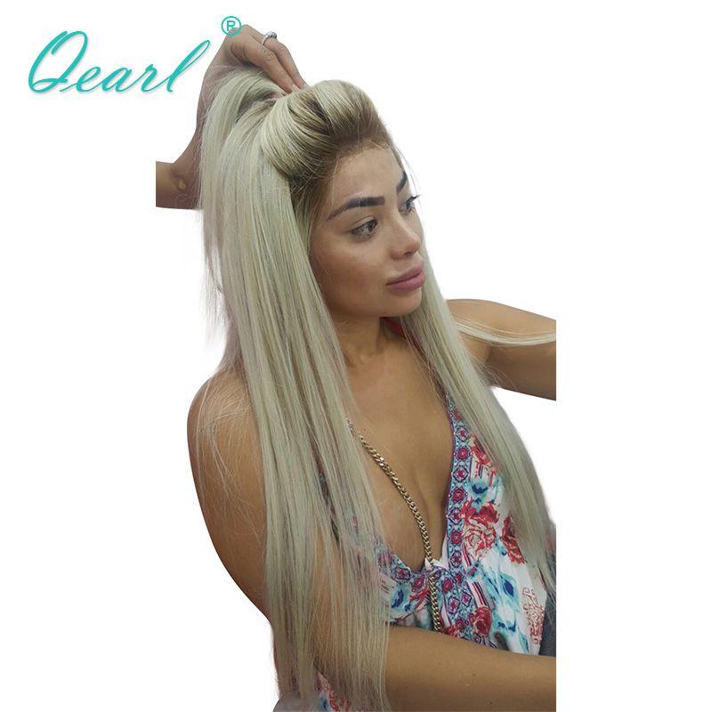 Qearl Brasilianische Remy Haar Volle Spitze Perücke 4/60 # Blonde Ombre Spitze Perücke Echt Menschliches Haar Vor Gezupft Natürliche haaransatz für Weiße frauen