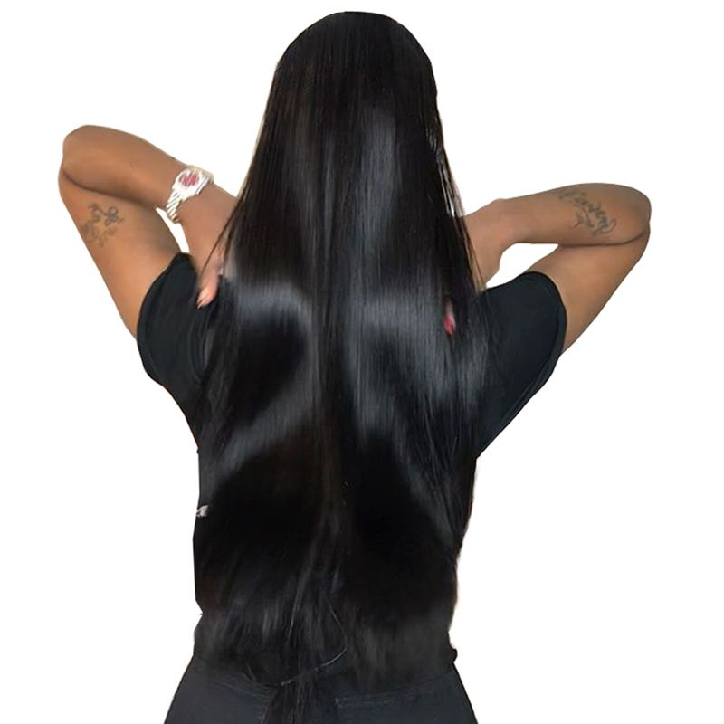 Lace Front Human Hair Wigs For Women Natural Black 250% High Density Brazilian Straight Lace Front Wig Pre Plucked Remy CARA