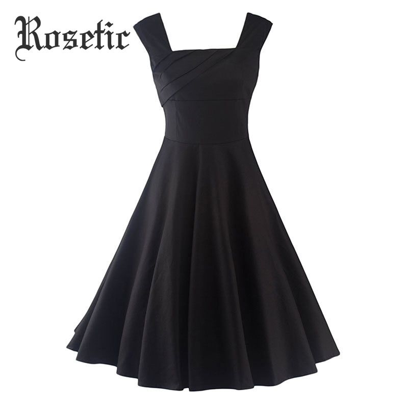 Rosetic Gothic Vintage Dress Black Women Summer Party Sleeveless Pullover Sexy Slim Girl Retro Cool Harajuku Casual Skater Dress