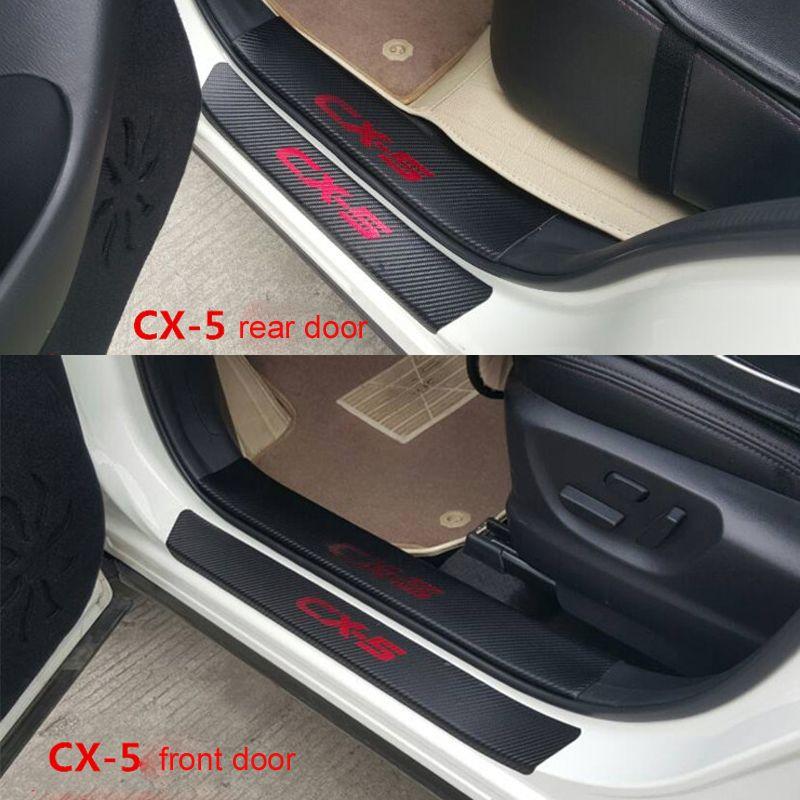 Fiber De carbone Plaque de Seuil de Porte Bienvenue Pédale Seuil Protéger Autocollants Pour Mazda CX-5 CX5 2014 2015 8 pièces de Voiture