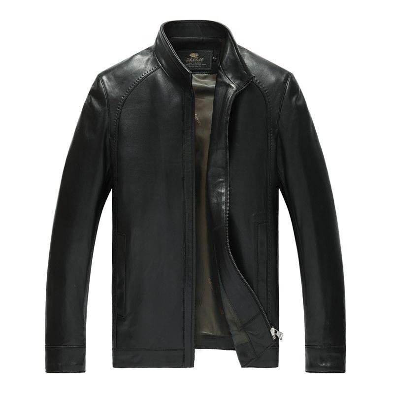 Factory Men's Genuine Leather Jacket For Men Real Matte Goat Skin Sheepskin Fashion Brand Black Male Coat Plus Size 4XL