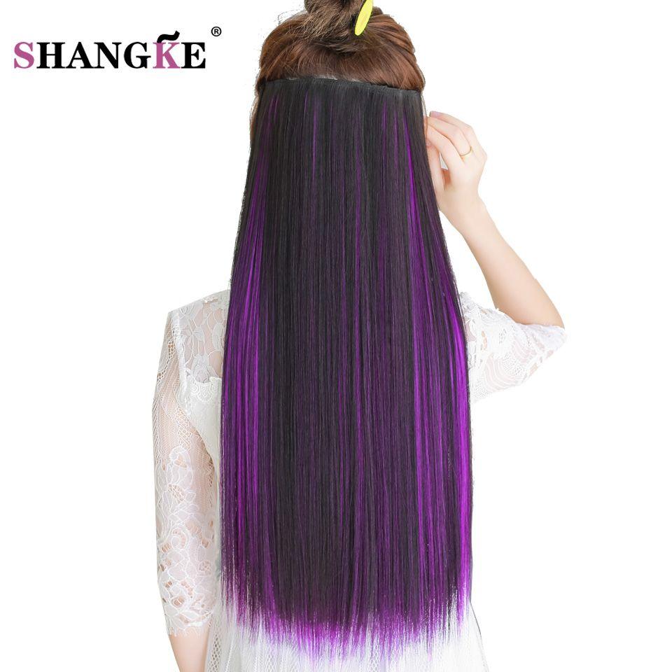 SHANGKE 24''Long Couleur Extension de Cheveux 5 Clip Dans Les Cheveux Extensions Naturel Résistant À La Chaleur Synthétique Postiche 29 Couleurs Disponibles