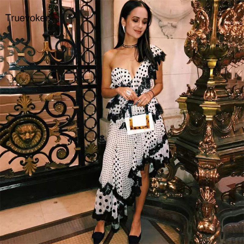 Truevoker Summer Designer Party Dress Women's Sexy One -Shoulder Polka Dot Printed Black Lace Ruffle Irregular Boutique Dress