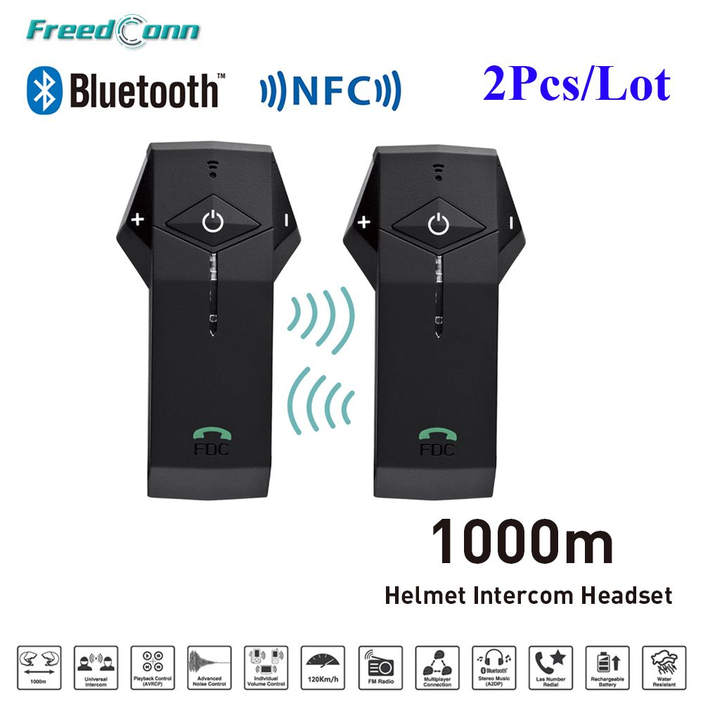 2pcs FDC COlO-RC+L3 1000M BT NFC FM Radio Function Motorcycle Helmet Bluetooth Intercom Headset Interphone for Rider Helmet
