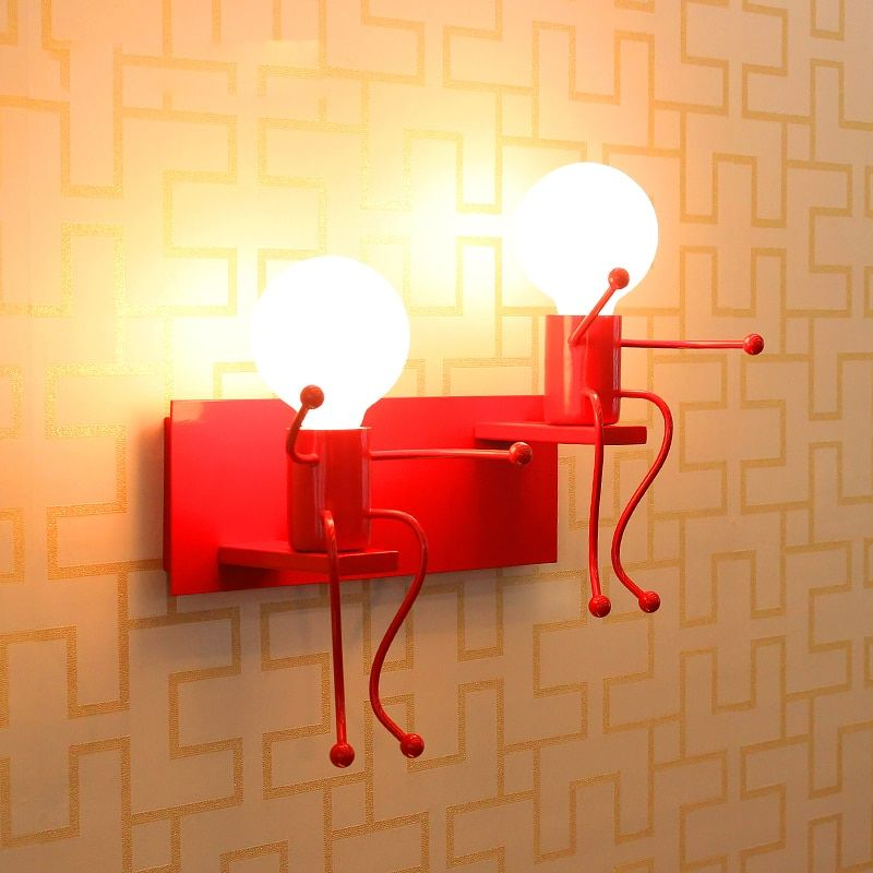 Modern Cartoon Doll Wall Light LED Creative Mounted Iron Sconce Lighting Lamp for Kids Baby Room Living Room Bedroom Decoration