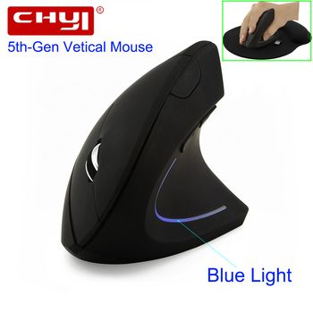CHYI Wireless Mouse Ergonomic Optical 2.4G 800/1200/1600DPI Led Blue Light Wrist Healing Vertical Mice with Mouse Pad Kit For PC