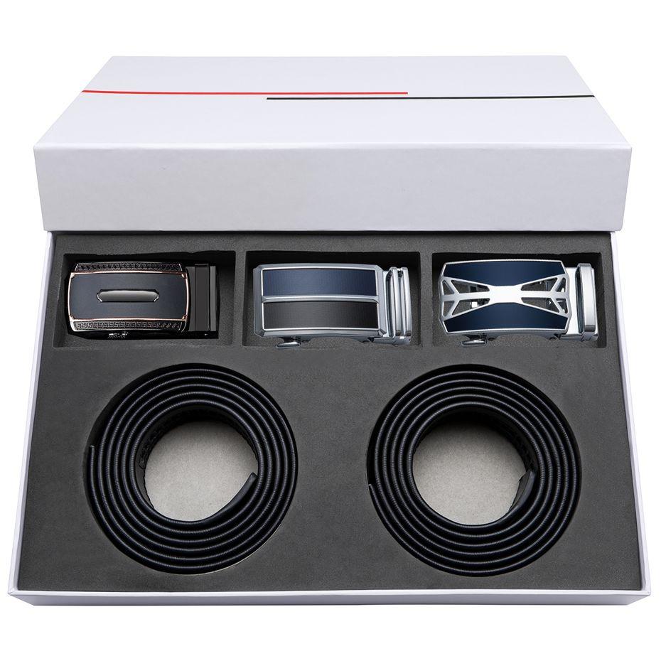 Echtes Leder Luxus Marke Gürtel für Männer Mens Schwarz Gürtel Geschenk Box-Sets von 110-160 cm Metall Automatische schnalle Gürtel Großhandel