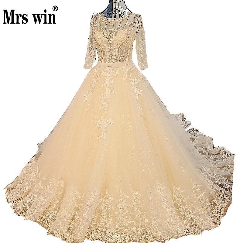 Vestido De Noiva Luxury Embroidery 3/4 Sleeve Wedding Dress Bride Princess Long Tail Crystal Beading A-line Wedding Gown CustomC