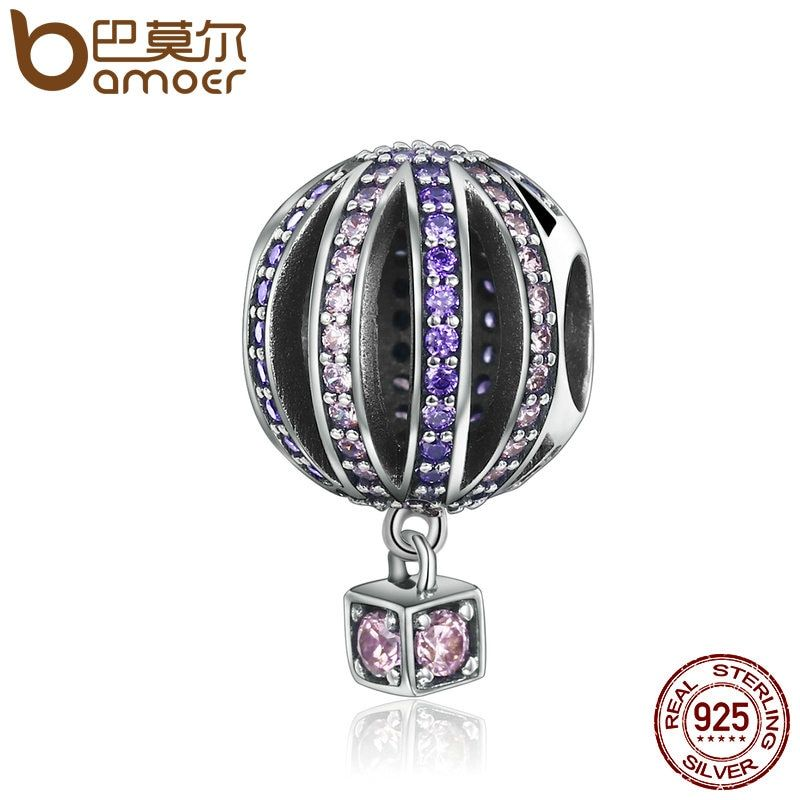 BAMOER High Quality 925 Sterling Silver Hot Air Balloon Purple Clear CZ Charms Beads fit Bracelets & Necklaces Jewelry SCC352