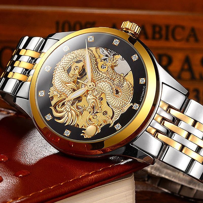 2018 Business Mechanical Watches Mens Skeleton Tourbillon Automatic Watch Men Gold Stainless Steel Waterproof Relojes Hombre