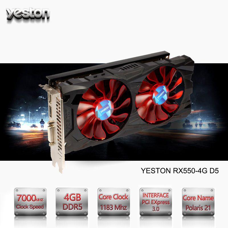 Yeston Radeon RX 550 GPU 4GB GDDR5 128 bit Gaming Desktop computer PC Video Graphics Cards support PCI-E 3.0
