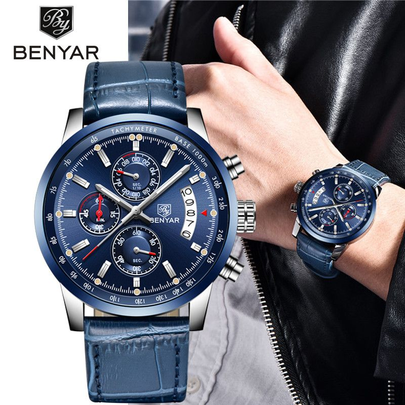 2018 New BENYAR Top Luxury Brand Men Fashion Blue Watch Men's Business Quartz Chronograph Leather Wristwatch Relogio Masculino