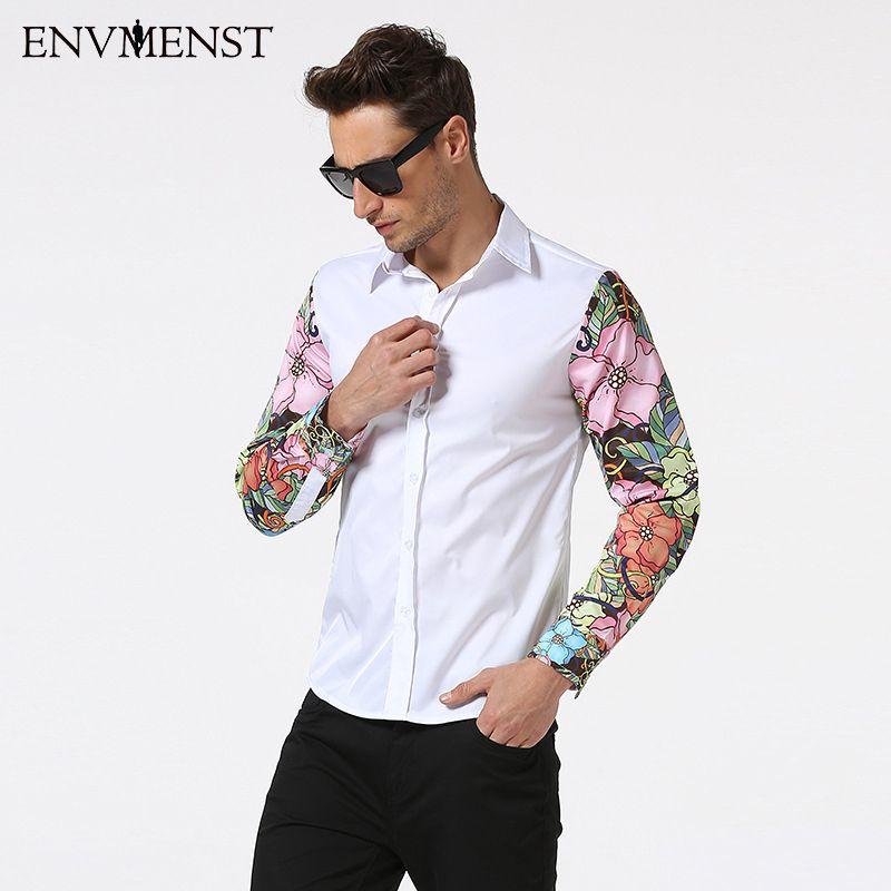 2017 Camisas Neue 9 Farben Blume Ärmel Patchwork Herrenmode Langen Ärmeln Damen-shirts männer Slim Fit Kleid Shirts