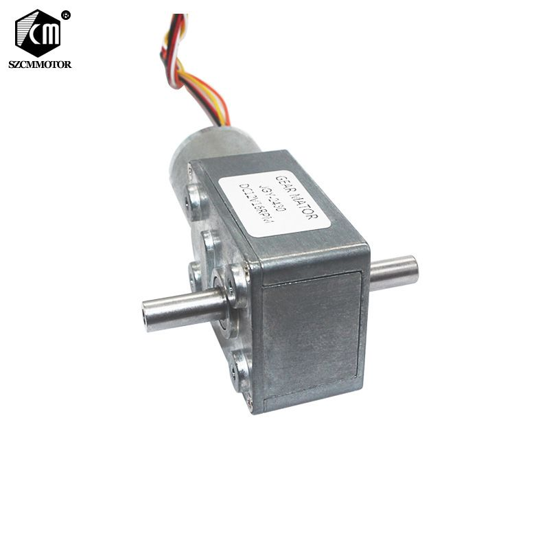 Slow Speed Silent Long Life Brushless DC Turbo Worm Gear Motor Dual Shafts High Torque BLDC Worm Geared Motor JGY370-2430D