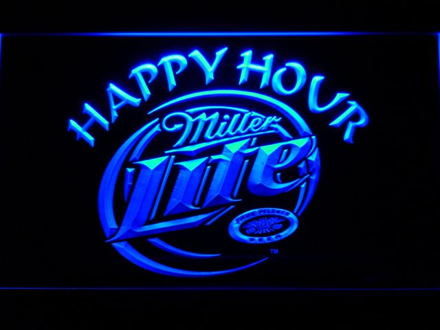 605 Miller Lite Happy Hour Beer Bar LED Neon Light Signs with On/Off Switch 20+ Colors 5 Sizes to choose