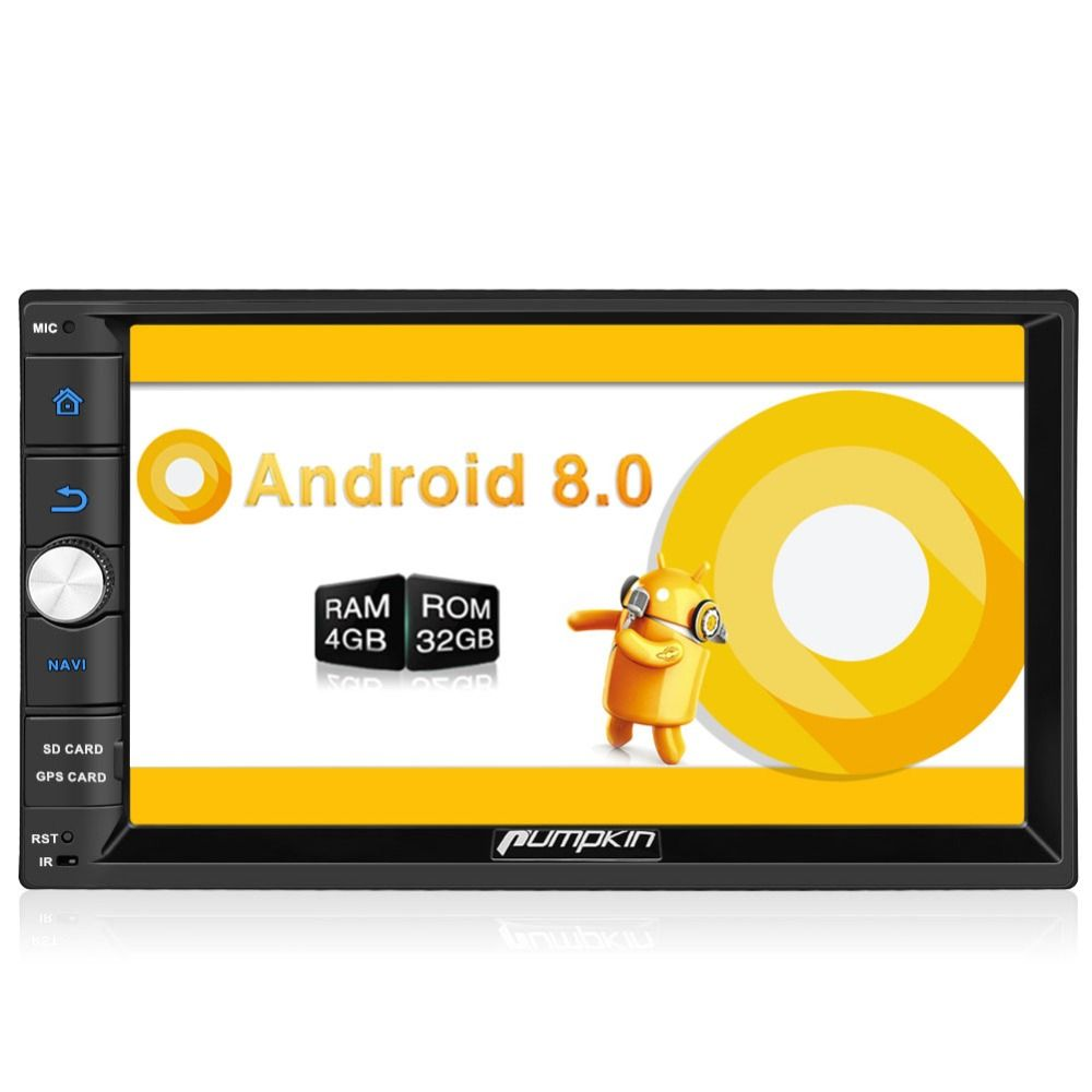 Pumpkin 2 Din 7'' Android 8.0 Universal Car Radio No DVD Player GPS Navigation 4GB RAM Car Stereo FM Rds Wifi 4G DAB+ Headunit