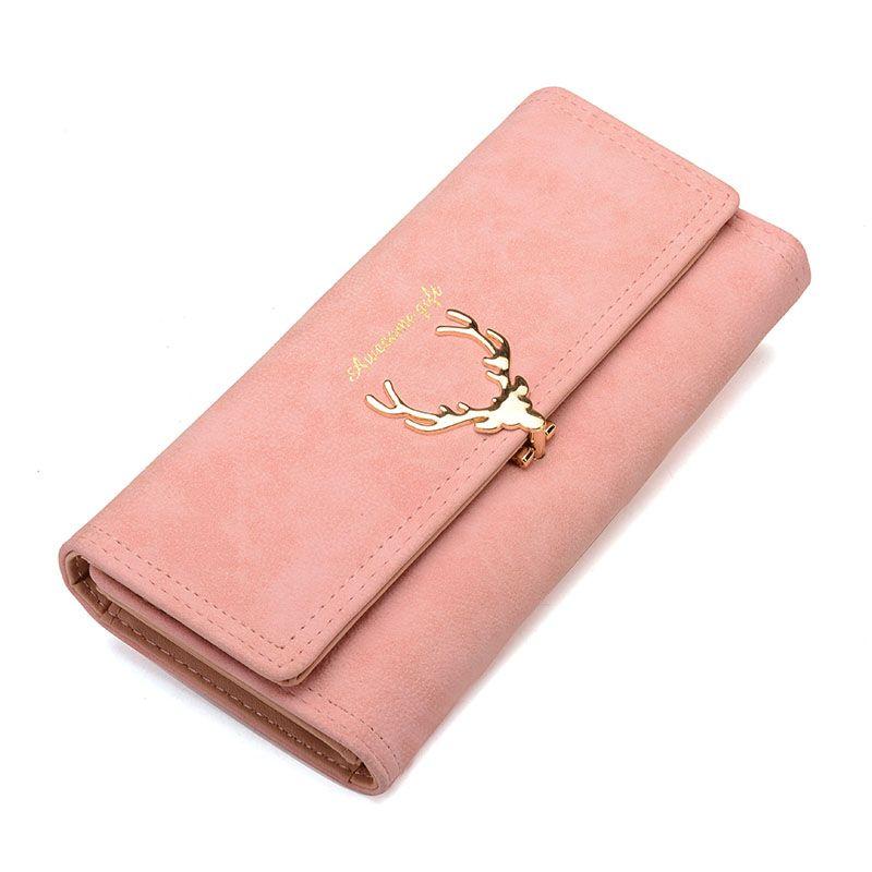 2017 neue Mode Brieftasche Weibliche Lange Zipper Solide Metall Weihnachten Hirsch Geldbörsen PU Kartenhalter Design