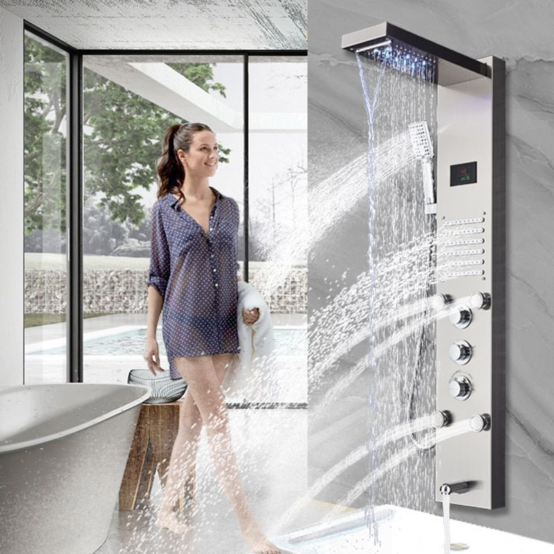 Golden Shower Panel LED Light Bathroom Bath Shower Column Tower Digital Screen Waterfall Rain shower Mixers Rotate Massage Jets
