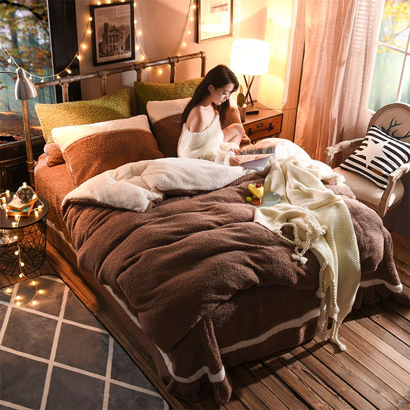 4pcs Pure Color Thick Lambs Wool Bedding Set Warm Winter Fleece Soft Duvet Cover set Bed Sheet Pillowcases Queen King size