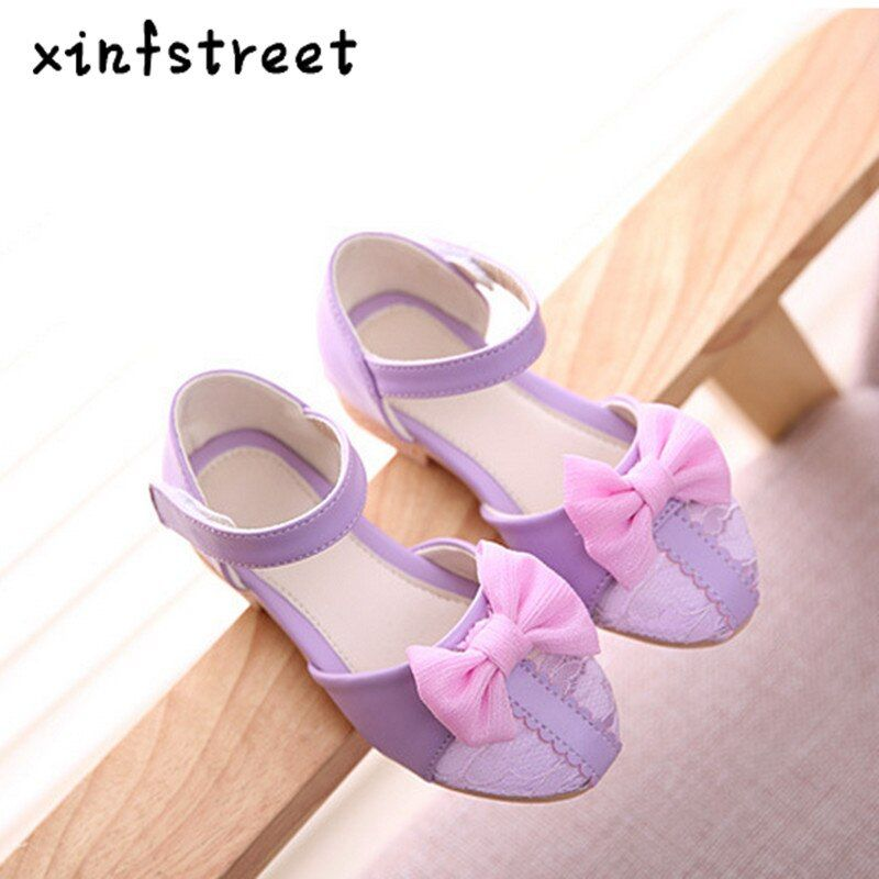Обувь для девочек принцессы 2017 с милым бантом обувь для детей для Обувь для девочек Дышащие Детские дизайнерские тонкие туфли Размеры 26-36