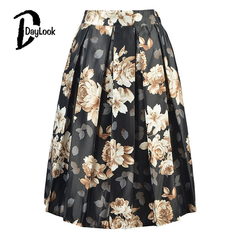 Daylook Summer chic vintage negro floral moda Faldas mujer plisado Tutu skater falda elegante alta cintura MIDI Ball gown