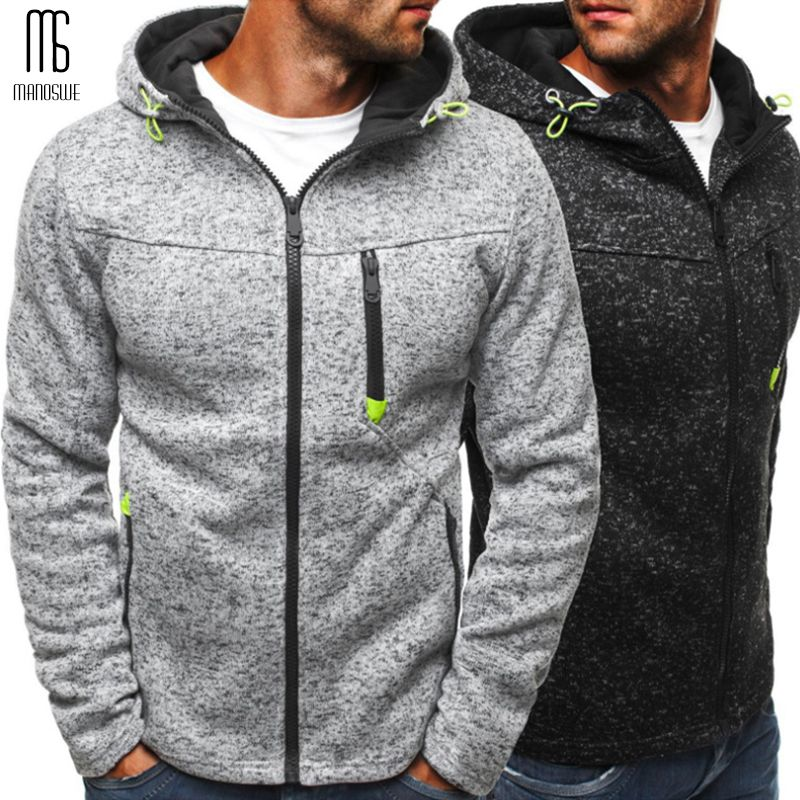 Manoswe hommes sport tenue décontracté fermeture éclair COPINE mode marée Jacquard sweats à capuche polaire veste automne sweats automne hiver manteau