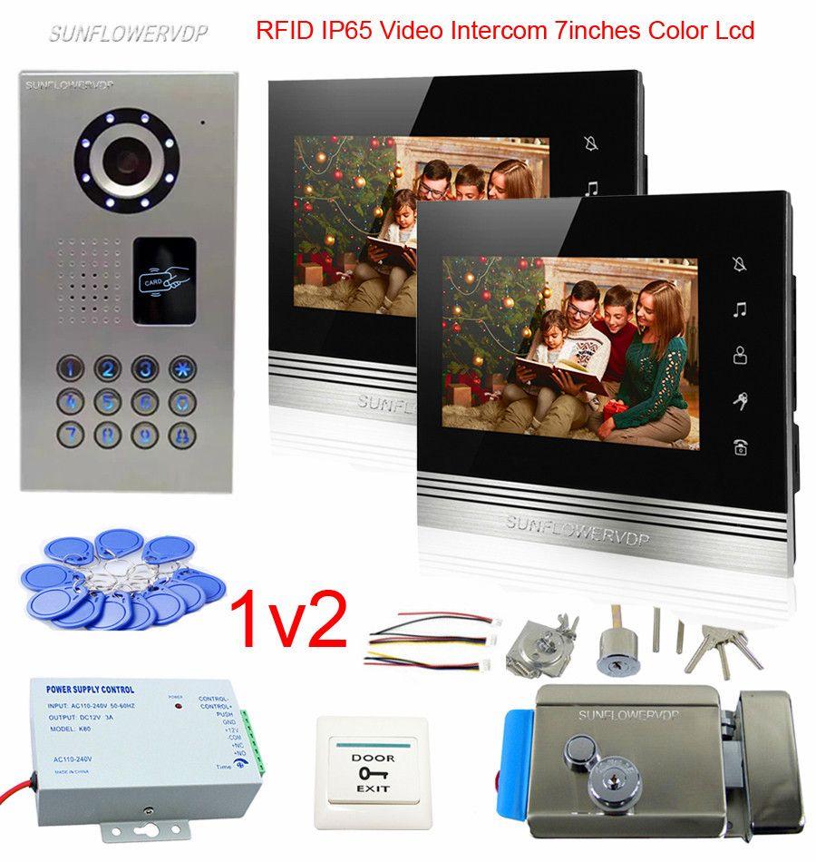2 Apartments Rfid Keyboard Camera Doorbell IP65 Waterproof Video Intercom System 7