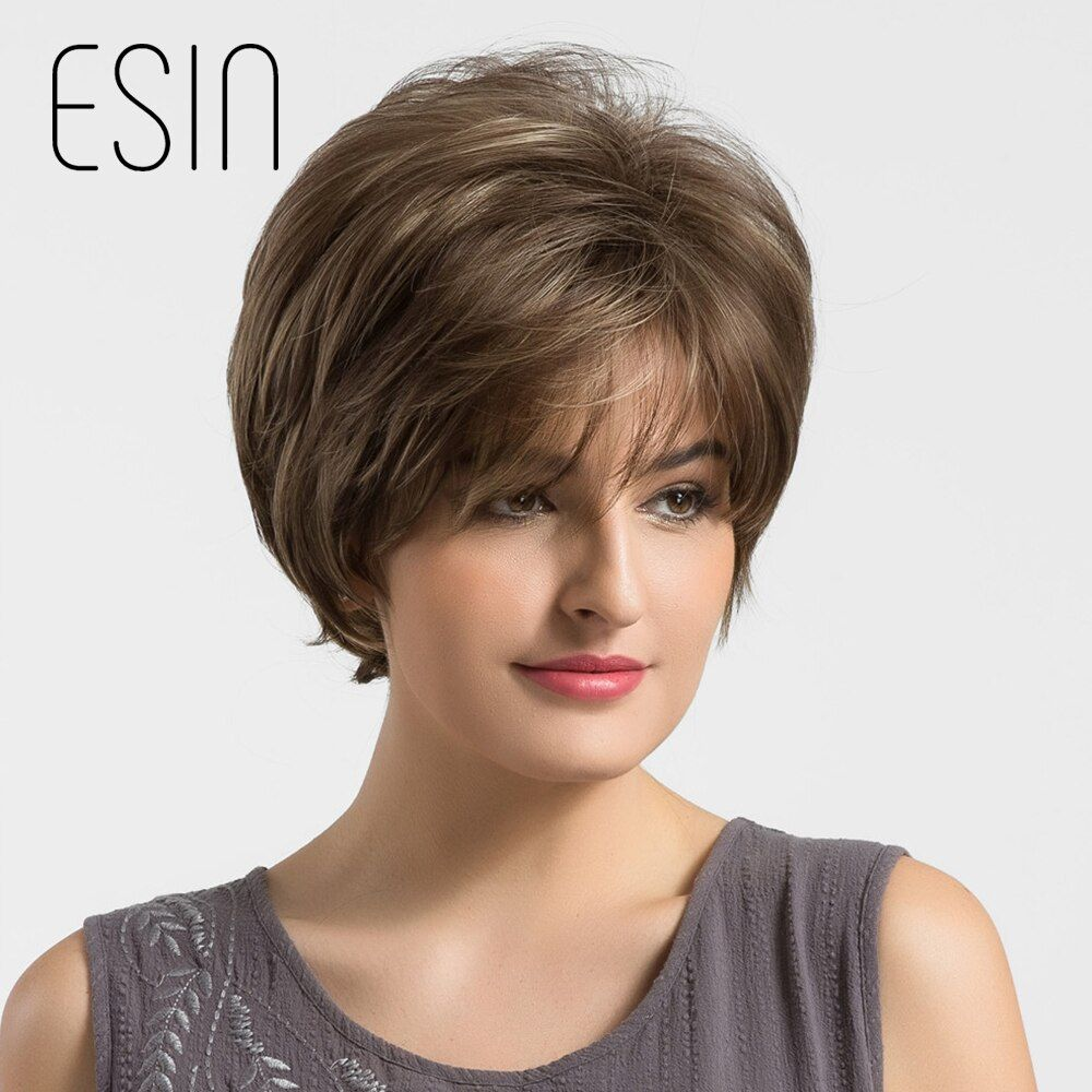 Esin Synthetic Pixie Cut Women Wigs with Natural Bangs Fluffy Layered Straight Mixed Color Heat Resistant Short Hair Wig