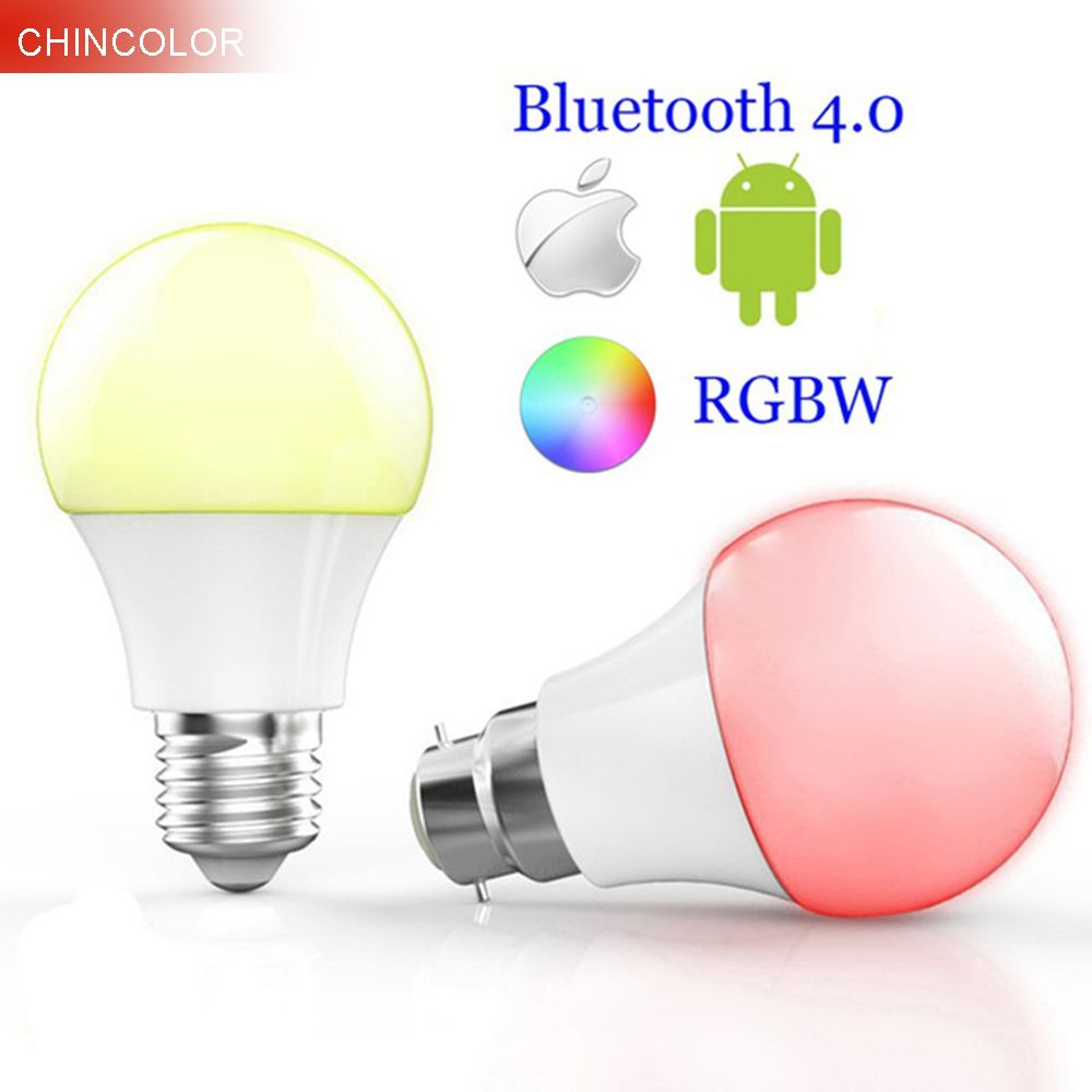 Smart Bluetooth 4.0 Led ampoules multi couleur E27 ou B22 base 4.5 W RGBW Dimmable intelligent éclairage spot lampe pour ISO Android JQ