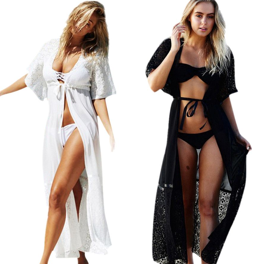 Bikini 2017 Women Biquini New Lace Beach Pareo Coverups Ladies Cover Up De Plage Beach Cardigan Shirts Long Dress Swimwear Feb23