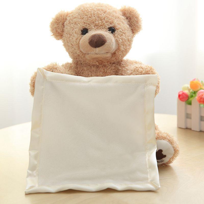 Милые PEEK A Boo Мишка играем в прятки прекрасный мультфильм чучело медведя подарок на день рождения для детей Музыка медведь плюшевые игрушки ...