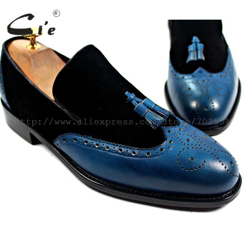 cie Free Shipping Bespoke Handmade Genuine Calf Leather Men's Tassels Slip-on Boat Black Suede/Navy Matching Shoe No.Loafer 17