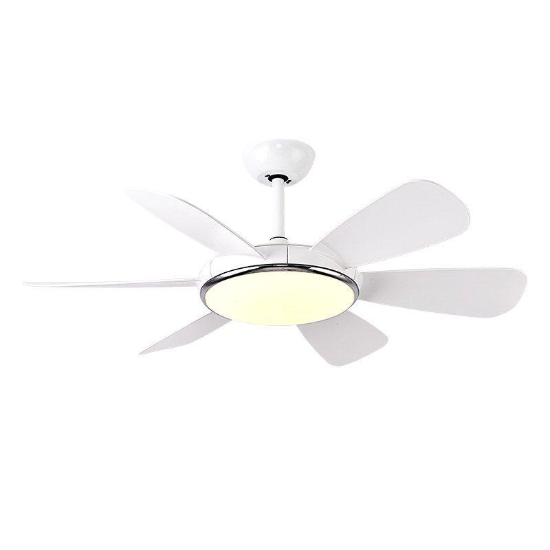 Moderne LED pendelleuchte Blau weiß fan blatt foyer schlafzimmer decke lampe mit fan Vorwärts Rückwärts wind Zwei arten modus fan lampe