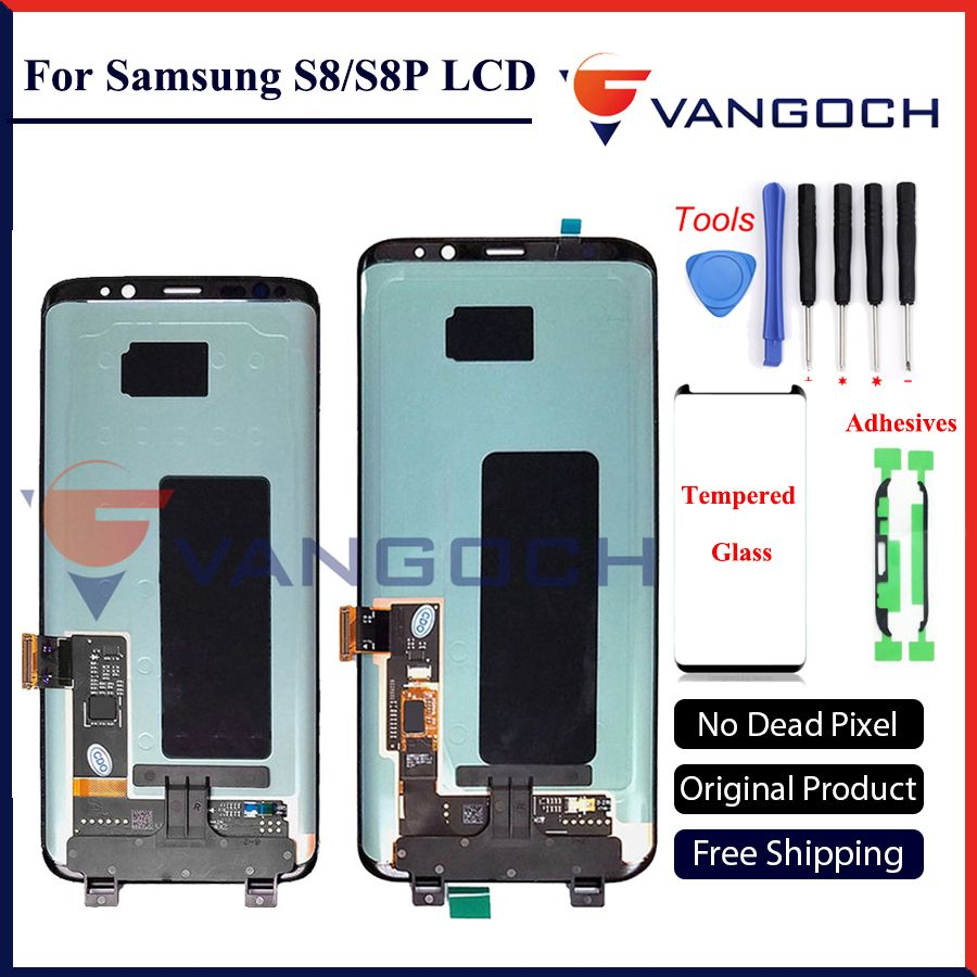 100% Original Super Amoled LCD Screen for <font><b>Samsung</b></font> Galaxy S8 Display G950 S8 Plus G955 Assembly Replacement with adhesives&tools