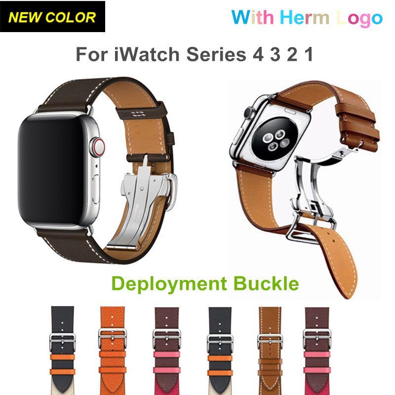 Ebene Barenia boucle de déploiement simple Tour en cuir pour iWatch 4 3 2 bandes 44 MM 40 MM Herme bracelet avec Logo Herm montre Apple