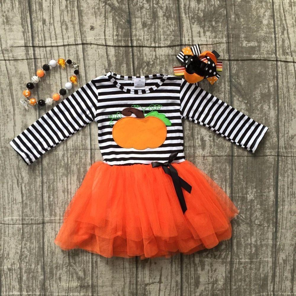 baby girls Halloween dress children girls stripe with pumpkin top with orange chiffon dress Girls chiffon dress with accessories
