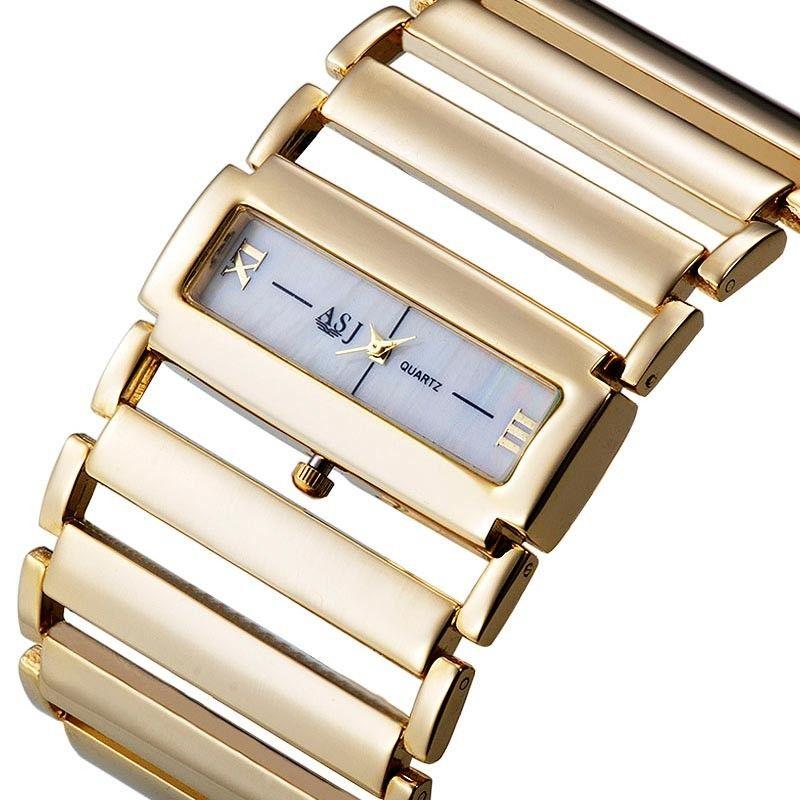 Haute qualité 2019 nouvelle mode femmes robe montres dames or montre en acier inoxydable chaîne bande montres, livraison directe
