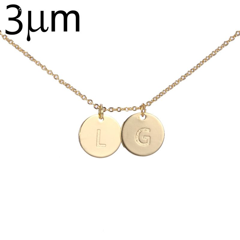 Personalized Letter Initial Necklace Tiny Disc Necklace Alphabet Blackish Women Kolye Collier Friends Family Letter Graduation