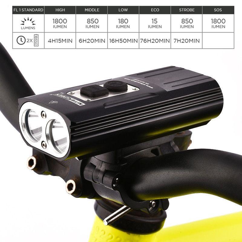 NITENUMEN 1800Lumens Bike Front Light Cycling Headlight Bicycle Rechargeable Flashlight Waterproof 6400mAh LED Head Lamp for MTB
