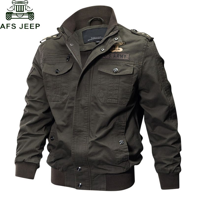 AFS JEEP Military Jacket Men Big Size 6XL Bomber Jacket Men Autumn Winter Outwear Casual Cotton Flight Jacket Jaqueta masculina