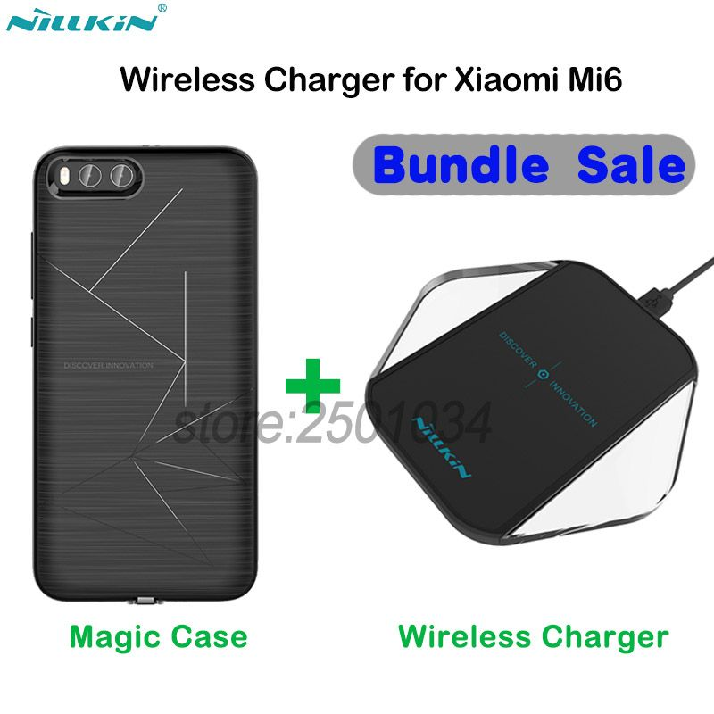 Original NILLKIN Phone Wireless Charger Charging Pad + Wireless Charging Receiver Case for Xiaomi Mi6 Mi 6 Put and Charge