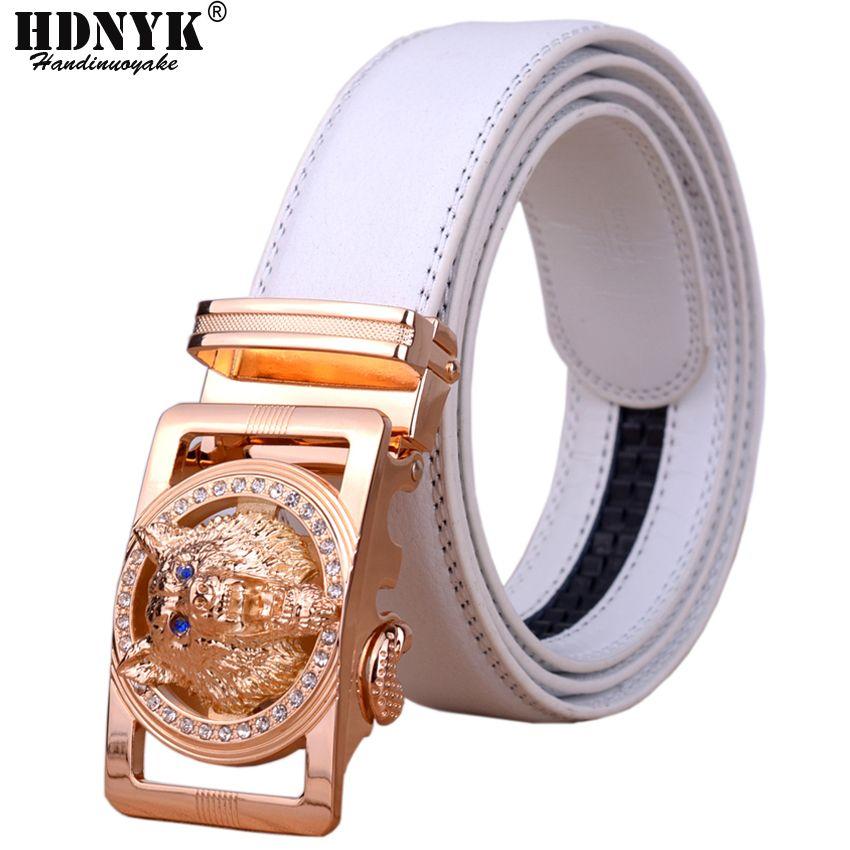 2018 Hot nouvelle marque Designer ceintures hommes de haute qualité automatique ceinture hommes en cuir ceinture décontracté taille sangle avec loup Heah boucle