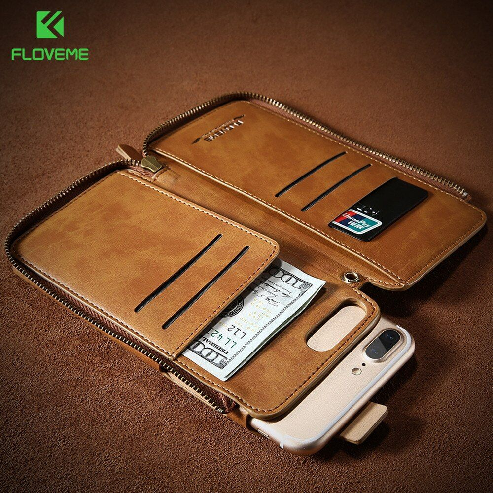 FLOVEME Original Retro Wallet Leather Case For iPhone 6 6s 7 Plus Handbag Skin Cover For iPhone 7 6 6s Plus Card Slots Case Bag